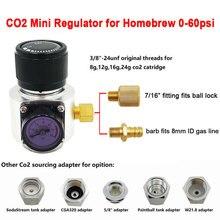 Mini regulador de Gas Co2, Sodastream,Paintball,CGA320, tanque W21.8, adaptador de cartucho desechable para Homebrew Beer Cornelius/Corny Keg