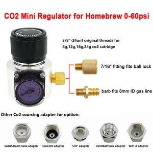 Image 1 - Mini regulador de Gas Co2, Sodastream,Paintball,CGA320, tanque W21.8, adaptador de cartucho desechable para Homebrew Beer Cornelius/Corny Keg