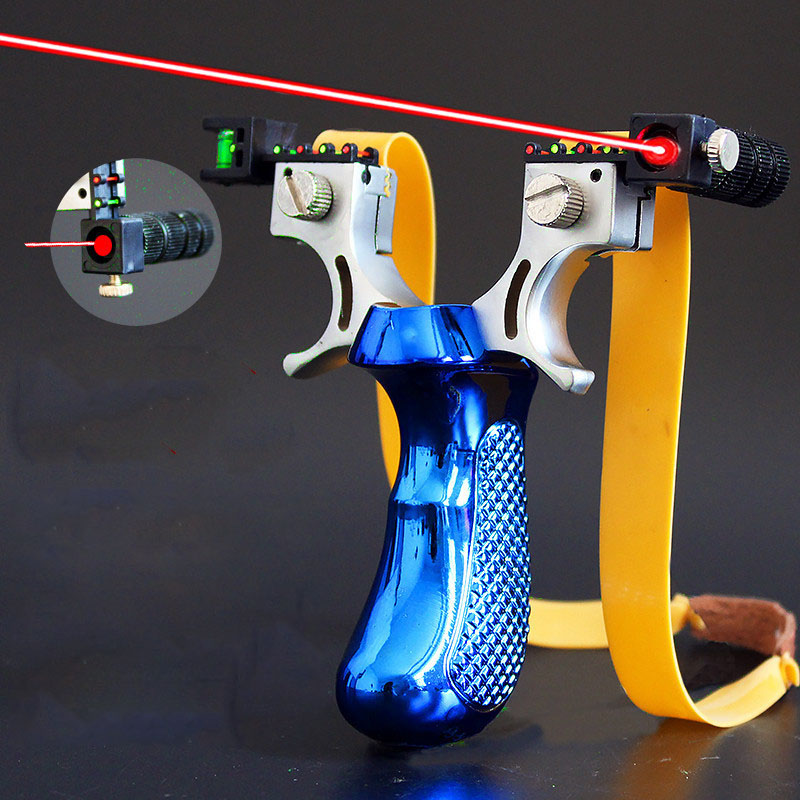 Outdoor Hunting Slingshot Laser Aiming Slingshot Using Flat Rubber Band High Precision Shooting Sling Shot 2019 New