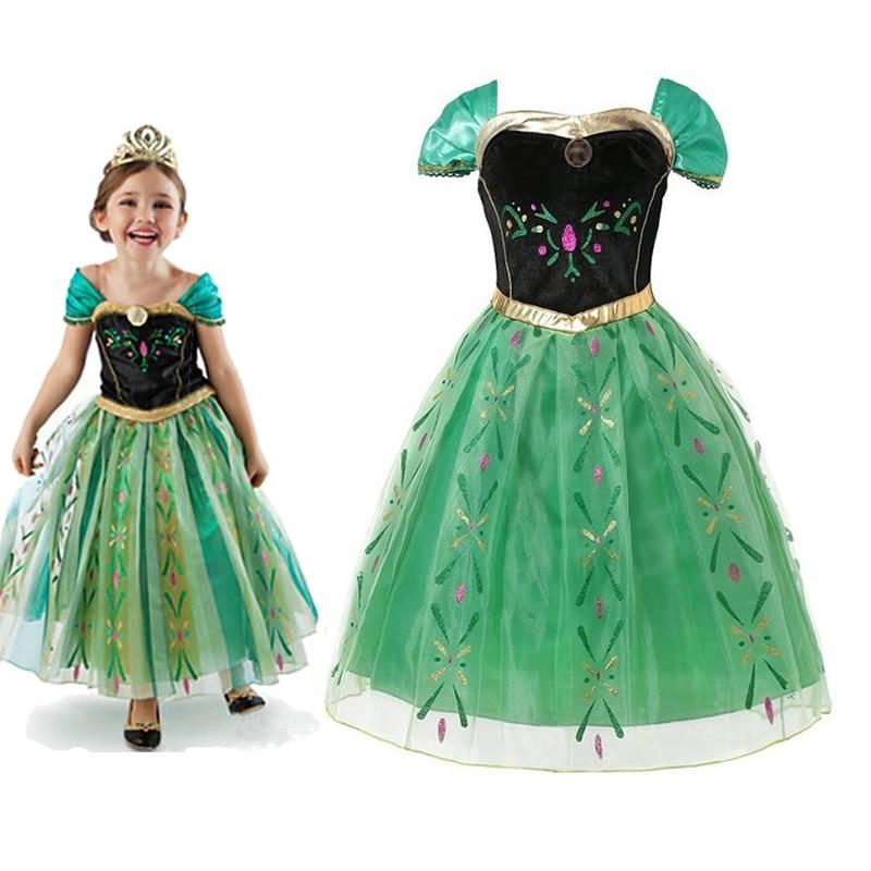 Платье принцессы Анны Disney, платье для девочек, зеленое Тюлевое платье Анны с холодной лихорачностью, детская одежда для косплея, вечернее пл...