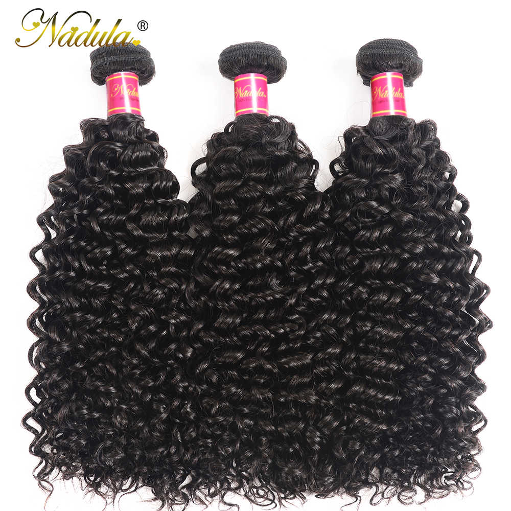 Nadula Hair 3PCS Brazilian Curly Hair Weaves 3 Bundles Brazilian Hair Extensions Natural Color Brazilian Remy Hair Weave Bundles