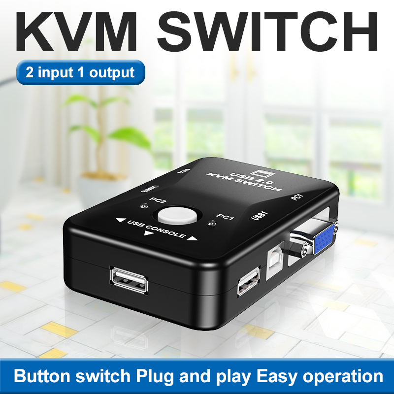 OULLX KVM Switch Vga Cable High Quality USB 2.0 Vga Splitter Box For USB Key Keyboard Mouse Monitor Adapter Usb Printer Switch