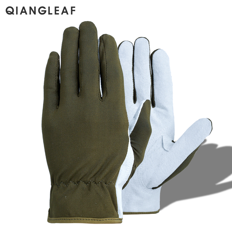 QIANGLEAF Brand Hot Sale Protection Green Leather Work Gloves For Safety Working Free Shipping Ultrathin Mitten Wholesale 620E