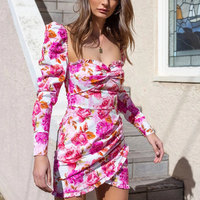 2019 Autumn Pink and White Rose flower Floral Print Dolce Ustrous Stretch Cotton Mid thigh Cut Women Dress Vestido S XL