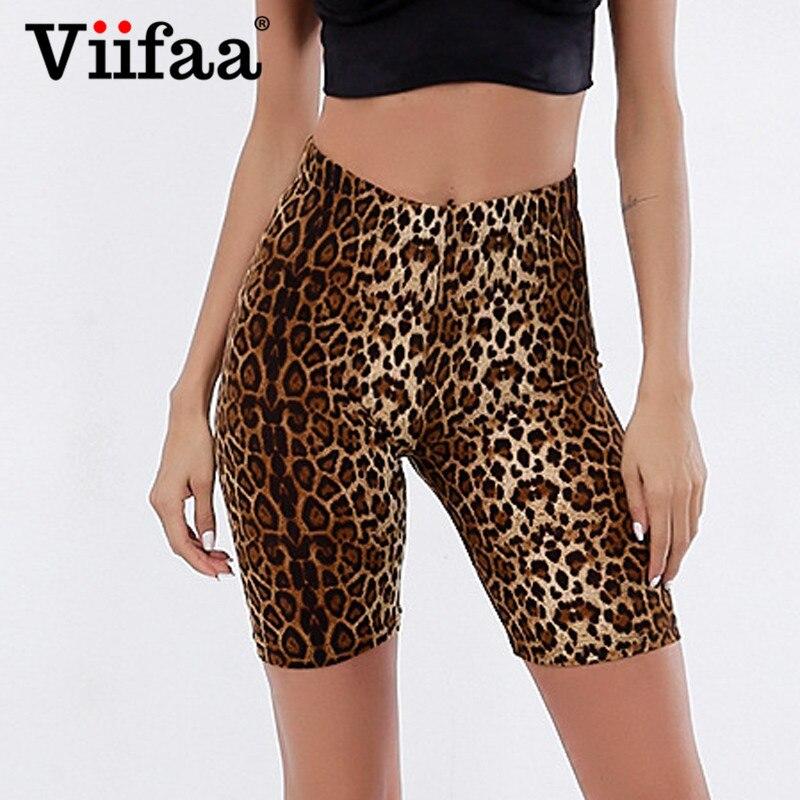 Viifaa Casual Leopard Print High Waist Fitness Short Legging Summer Modern Lady Athleisure Women Skinny Crop Leggings