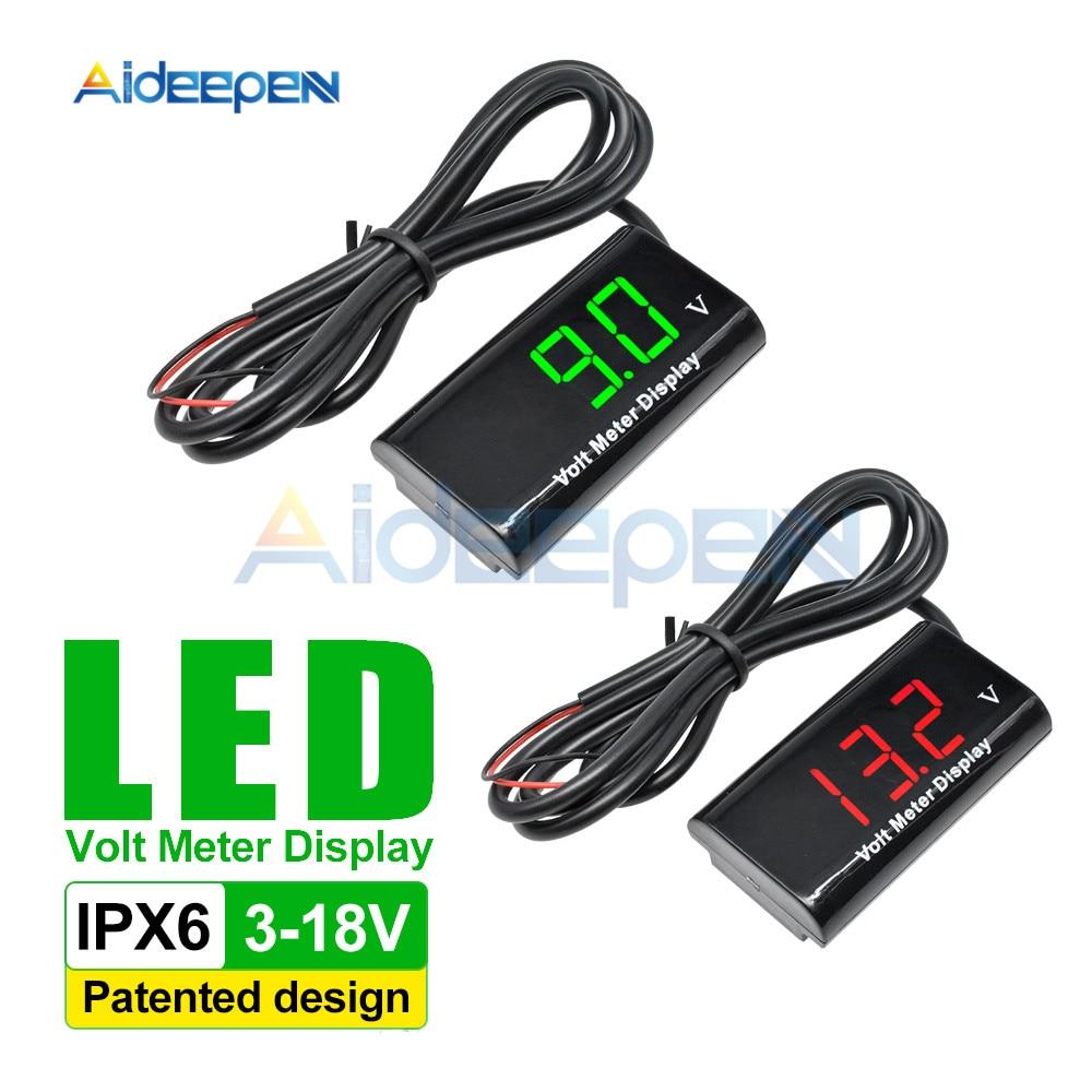 Постоянного тока 3-18В IPX6 водонепроницаемый вольтметр шлюпки автомобиля мотоцикла 12 в 0.56-дюймовый светодиодный цифровой дисплей панели вольт напряжения метр тестер датчик