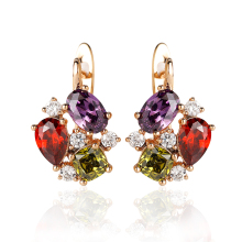 Hanreshe Crystal Stud Earrings Small Red Blue Natural Zircon  Hiphop Jewelry Party Cute Gold Lovers Earrings Women Gift