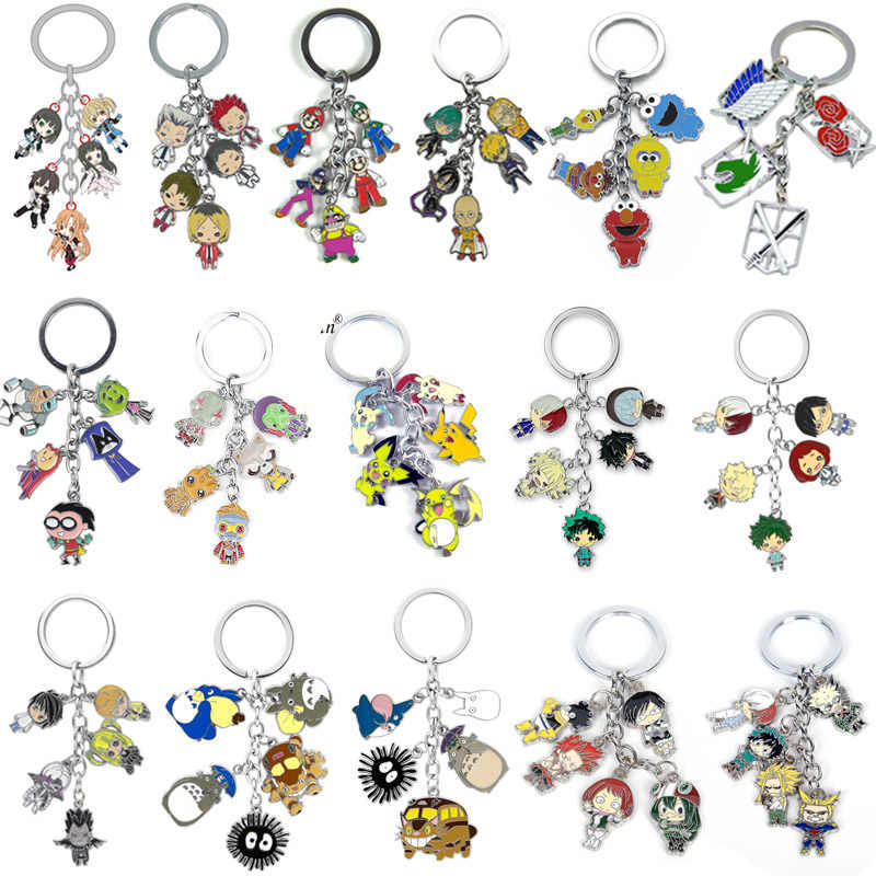 Herói Academia Attack on Titan Death Note Super Mary Pikachu Anime Dragon Ball Pingente Cores Ambientalmente Pintura do Metal keychain
