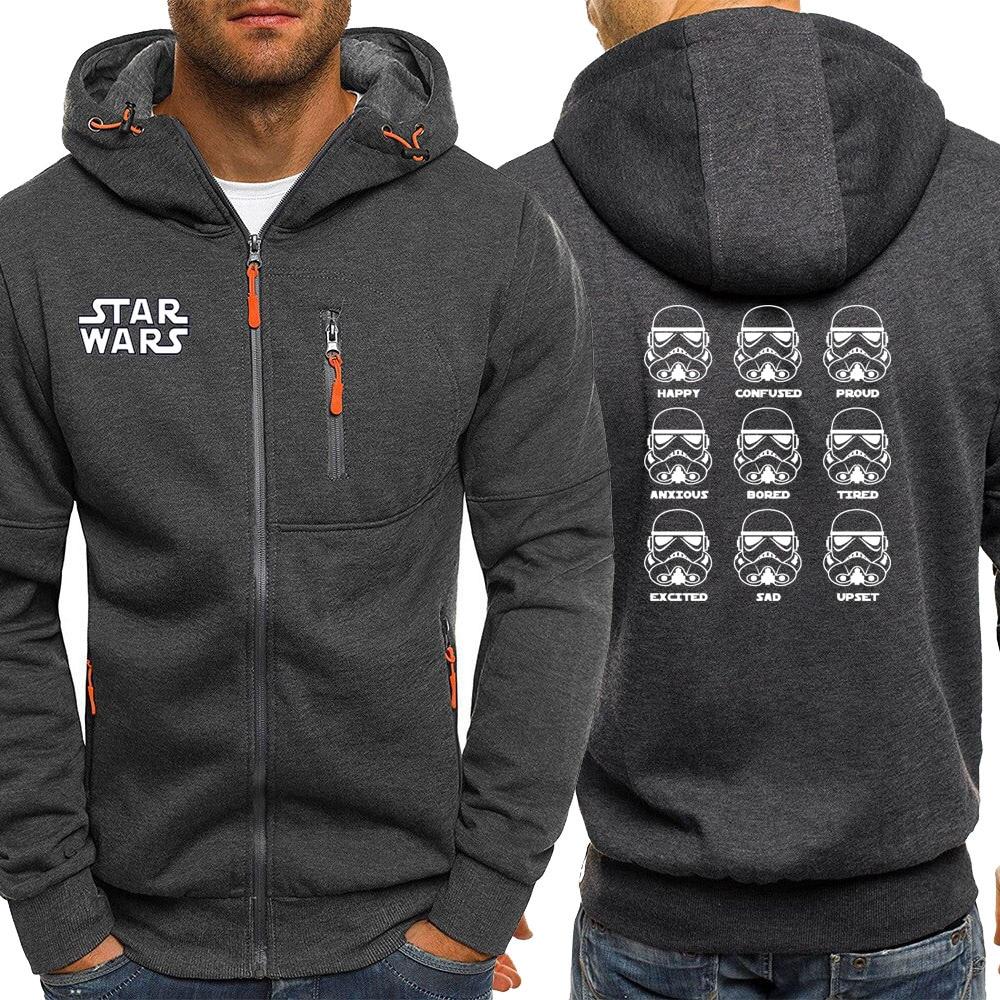 2019 Autumn New Stormtrooper Emotions Funny Star Wars Hooded Men Sweatshirts Casual Long Sleece Jacket Zipper Sportswear Coat