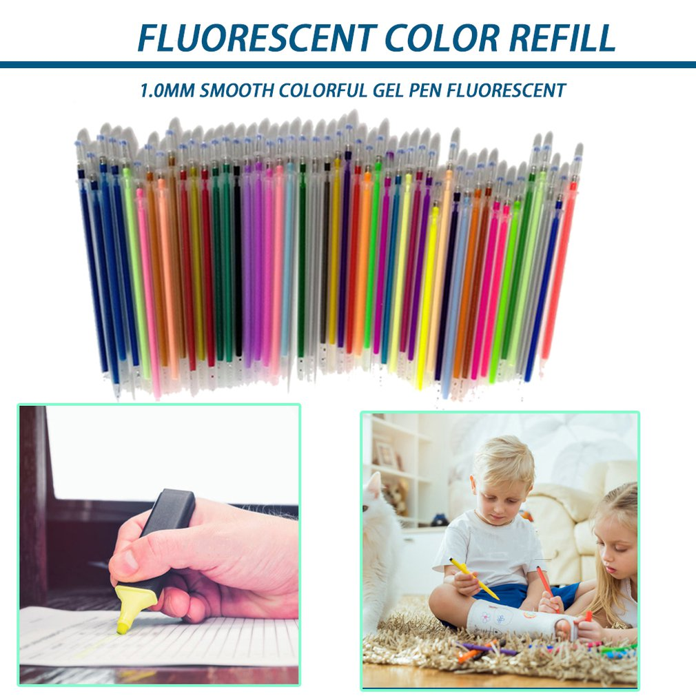 1.0mm Colorful Gel Pen Fluorescent Refills Color Cartridge Flash Pen Smooth Ink Painting Graffiti Pens Student Stationery Dropsh