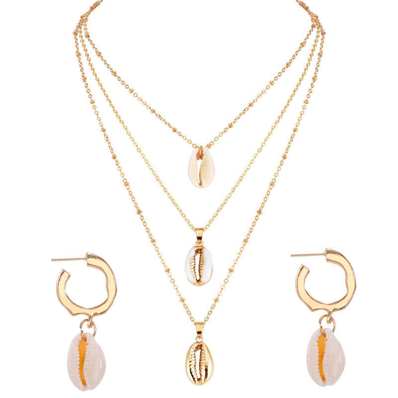 Bohemia Shell Jewelry Sets For Women Golden 2PC Sea Shell Pendant Necklace Earrings Set Costume Boho Africa Wedding  Jewelry