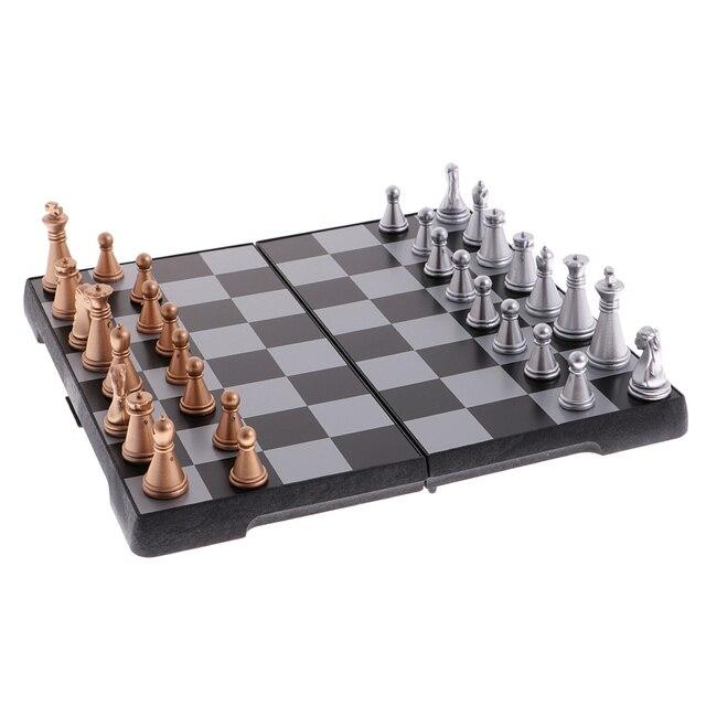 Jeu d'échecs de voyage portatif bronze argent 2