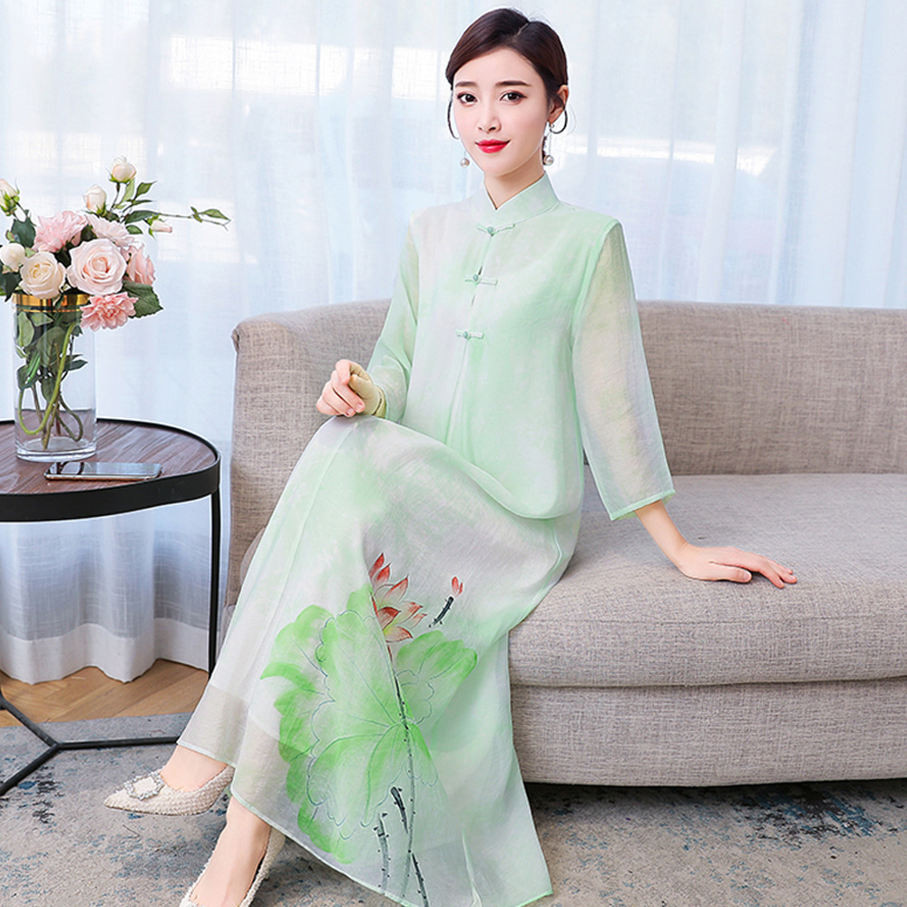 2020 Spring Summer Chinese Traditional Dress For Women Ethnic Style Green Lotus Flower Printed Silk Long Qipao Cheongsam Dress