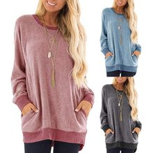 Womens Casual Long Sleeve Sweatshirt Color Block Round Neck Pullover Tunic Tops Loose Fit T Shirts Streetwear with Pockets стоимость