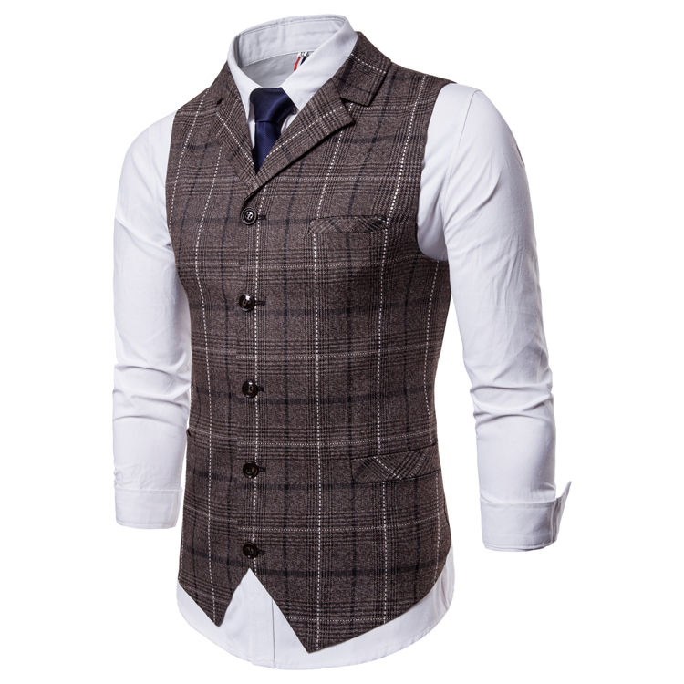 H31b678b60a2c4248920fc8f17cc58887D - New Mens Vest Casual Business Men Suit Vests Male Lattice Waistcoat Fashion Mens Sleeveless Suit Vest Smart Casual Top Grey Blue