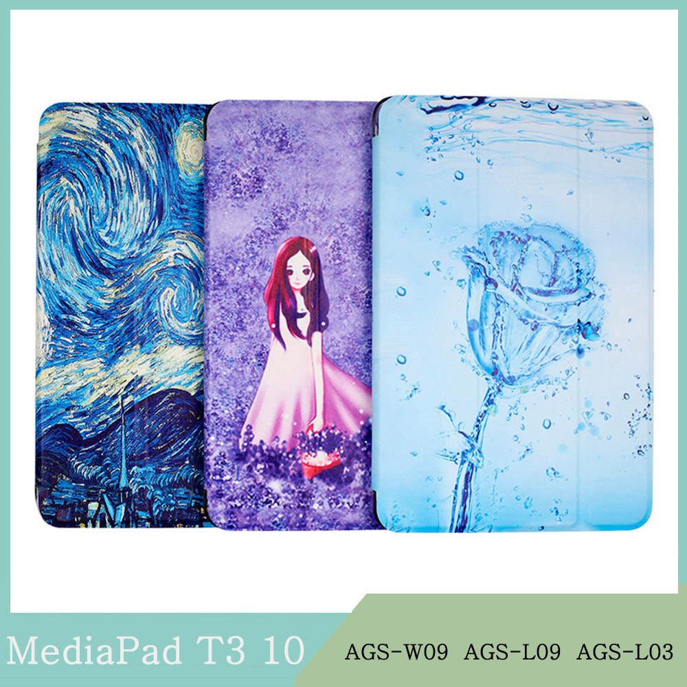 Tablet Case For Huawei MediaPad T3 10 9.6 AGS-W09 AGS-L09 AGS-L03 Transparent PC Shell Painting Back Cover Magnetic Stand Coque
