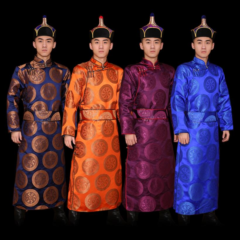 Male Asia apparel robe mongolia costume silk national gown Festival wedding party mongolian clothing for men oriental stage wear
