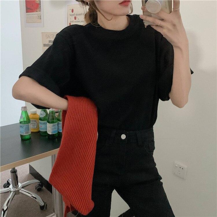H31b68a5c57444d74a62ad4cfc6242bf4E - Summer O-Neck Short Sleeves Cotton Basic Solid T-Shirt