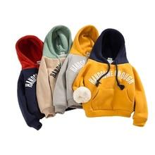 Boys Hoodies Pocket Sweatshirt Girls Winter Casual Thicken Loose Handsome Keep-Warm