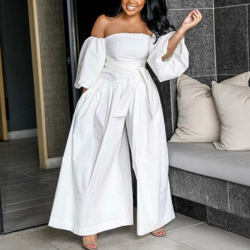 White Off Shoulder Jumpsuit Wide Leg Loose Puff Sleeves With Waist Belt Lady Women Fashion Female Spring Summer Playsuits Romper
