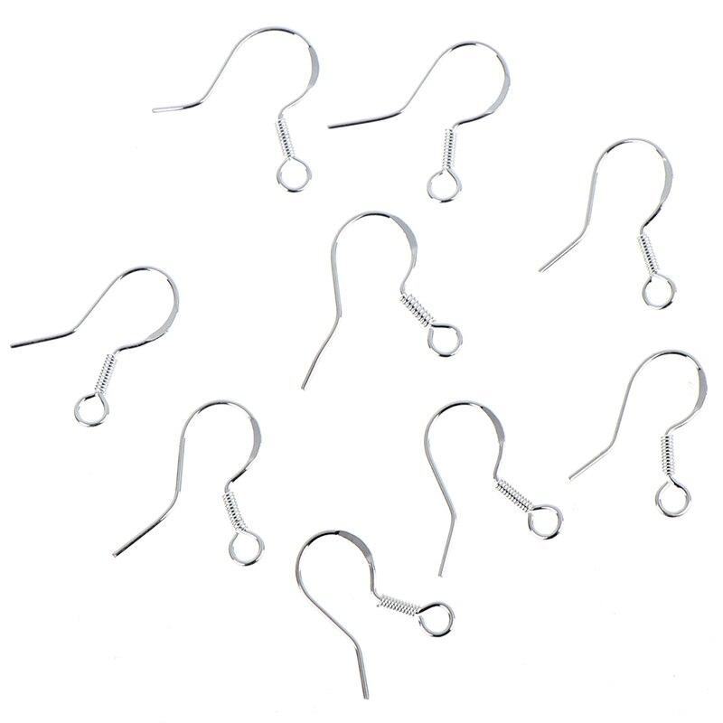 50PCS Silver DIY Earring Hooks Ball Jewelry Accessory Ear Hooks Handmake Earrings Accessaries