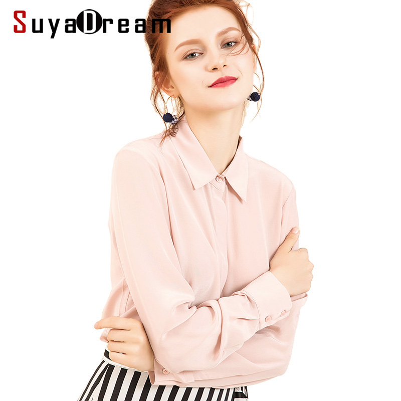 Women Silk Blouse 100% REAL SILK CREPE Solid Long Sleeve Blouses Basic Button OFFICE Lady SHIRT 2019 WHITE Blusas femininas-in Blouses & Shirts from Women's Clothing