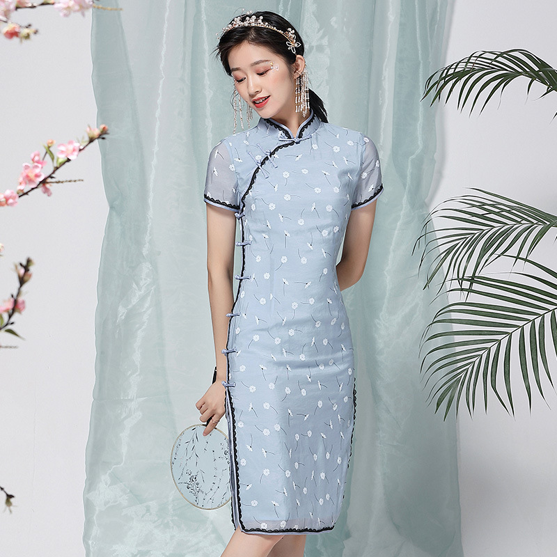 Chinese Style Dress Summer 2020 New Fashion Vintage Chinese Style Printed Stand Collar Short Sleeved Short Cheongsam Dress S-XXL