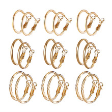 Korean Fashion Ring Earrings Set 9 pairs of combination earrings wholesale