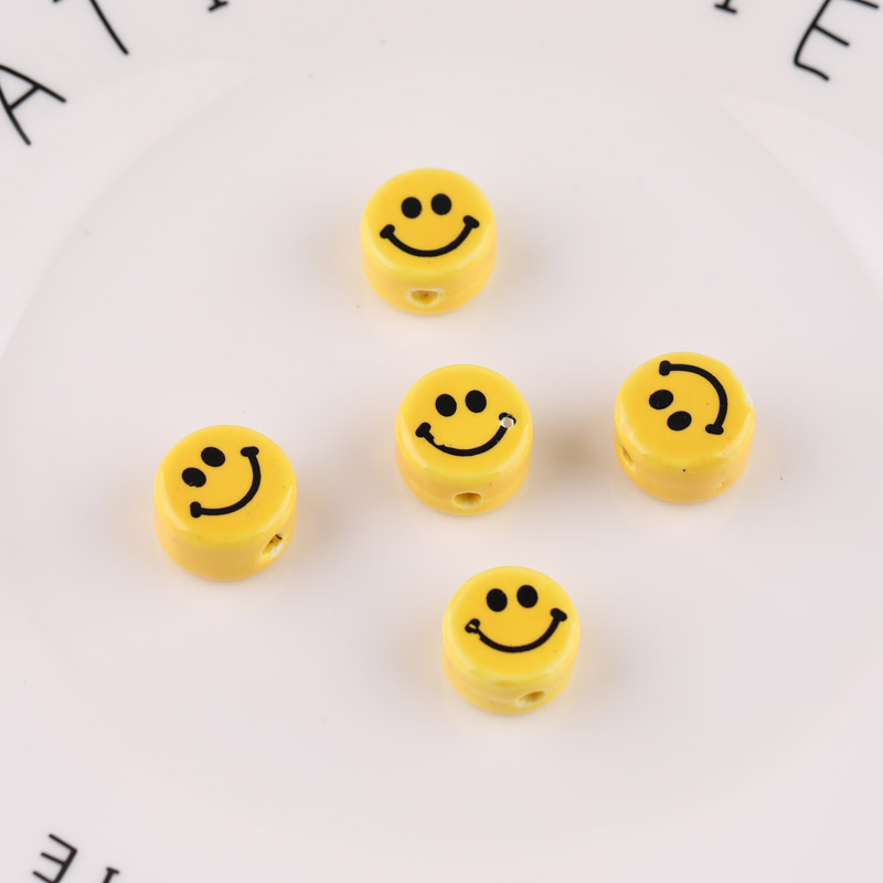 6pcs Diy Jewelry Handmade Beaded Material Bracelet Necklace Accessories Yellow Round Flat Cartoon Smiley Printed Ceramic Beads