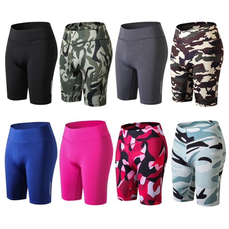 Sport Women Compression Yoga Fit Tight Night Reflective High Waist Elastic Short Women Tight Bottom Slim Shorts