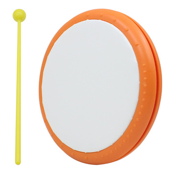 Portable Plastic Tambourine Drum with Drumstick Percussion Musical Instrument
