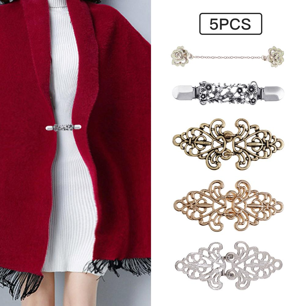 5PCS Vintage Sweater Shawl Clip Dresses Cardigan Collar Clip Flower Patterns Clip For Women Girls DIY Clothes Clips