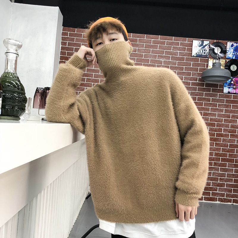 Thick High Collar Sweater Men Warm Fashion Solid Color Casual Knit Pullover Men Loose Long Sleeve Sweater Male Clothes M-2X