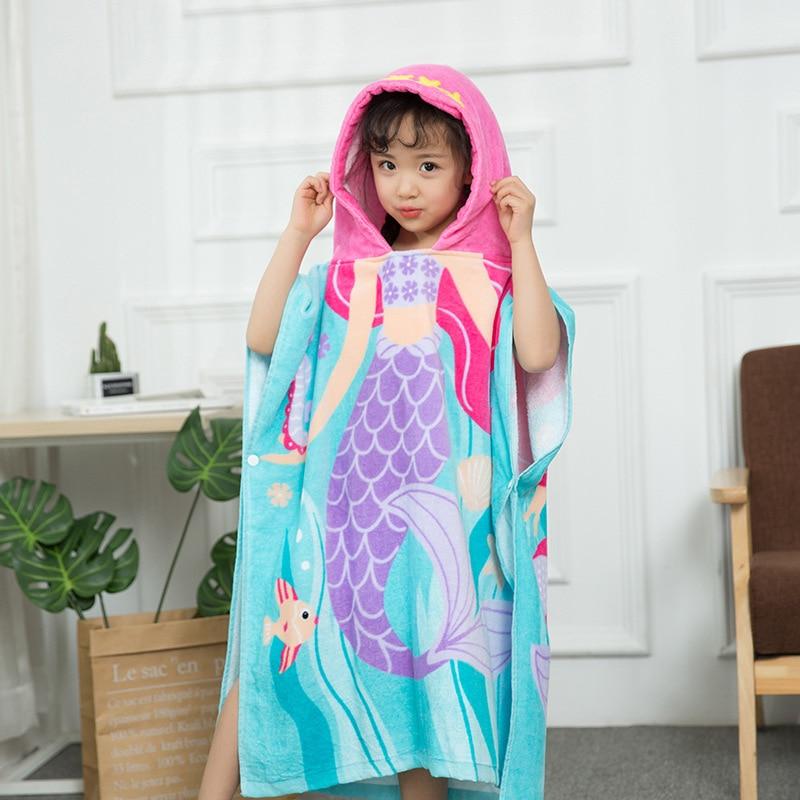Summer Bath Towel For Children Cloak Cotton Baby Swimming Bathrobe Mantle Beach Towel Infant Water-Absorbing Hooded Towel