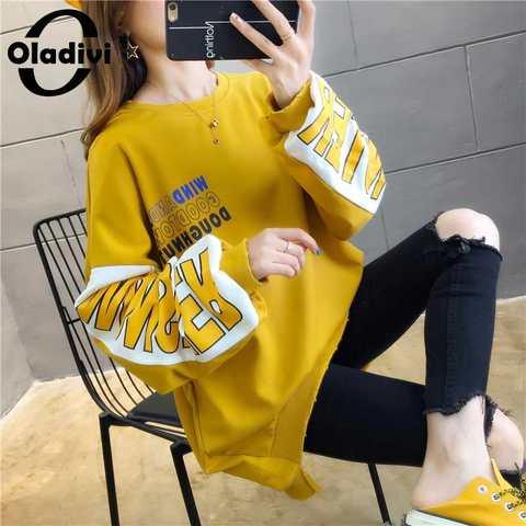 Senhoras sem Camisola de Veludo Oladivi Tamanho Grande Feminino Outono Hoodies Casual Solto Impresso Pulôver Camiseta Superior Túnica 6xl 5xl 4xl