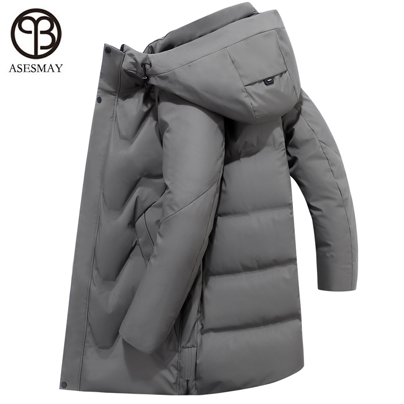 Asesmay 2019 White Duck Down Jacket Men Parkas Men's Winter Coat Hoodies Feather Thick Warm Minus Degree Puffer Jacket Outerwear