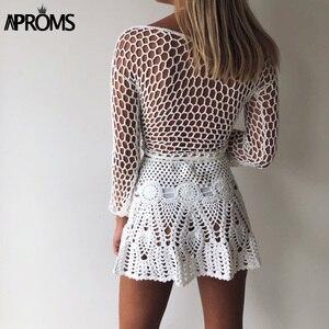 Image 2 - Aproms Mini jupes Crochet en coton tricoté à la main, couleur bonbon, taille haute, jupe de plage, sous vêtements, été, 2020