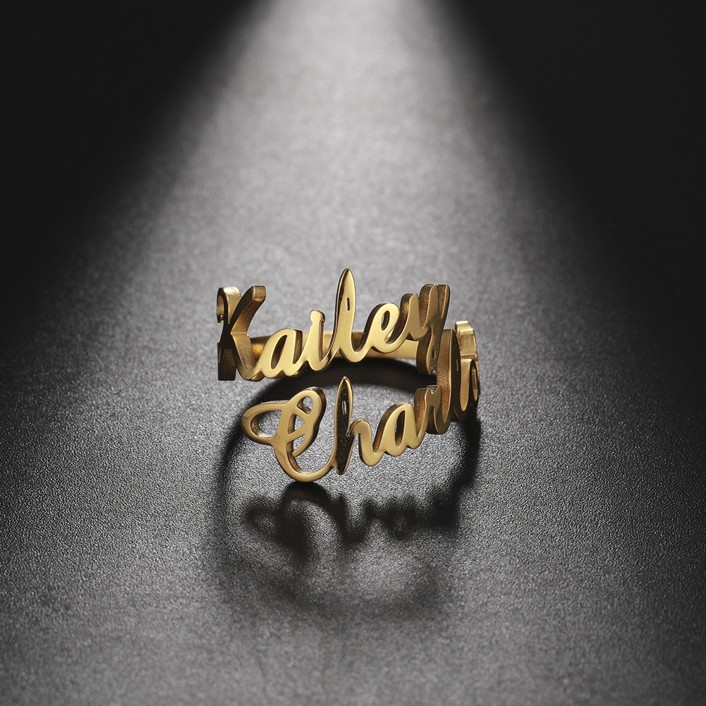 Teamer Anello familiare per uomo donna anello doppio nome personalizzato gioielli personalizzati coppia regolabile in acciaio inossidabile regalo madre bambino 1