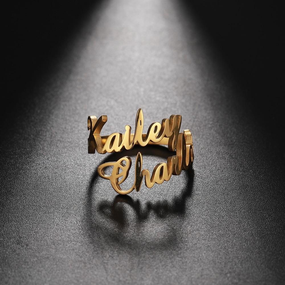 парные кольца, кольцо женское Семейное кольцо для мужчин, женщин, мужчин, кольцо с двойным именем на заказ, персонализированные ювелирные из...