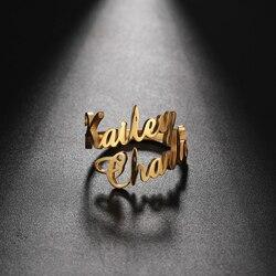 Teamer Bague de famille pour hommes femmes personnalisé Double nom anneau personnalisé bijoux en acier inoxydable réglable Couple mère bébé cadeau