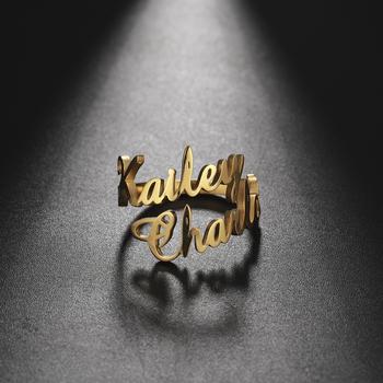 Teamer Rodzinny pierścionek dla kobiet mężczyzn niestandardowy podwójny pierścionek z imionami spersonalizowana biżuteria ze stali nierdzewnej regulowany para matka prezent dla dziecka tanie i dobre opinie CN (pochodzenie) STAINLESS STEEL NAME Unisex List Moda Zespoły weselne Metal Rocznica Dostosowane pierścienie Klasyczny