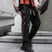 2020 NEW Ribbon Street Color Straight Fashion Mens Joggers Cargo Pants Hip Hop Spring Summer Casual Pencil Trousers Streetwear