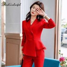 Kadınlar kırmızı blazer Slim bahar sonbahar yeni zarif ofis kadın ceketi iş elbisesi Ruffled kruvaze blazer katı Dushicolorful