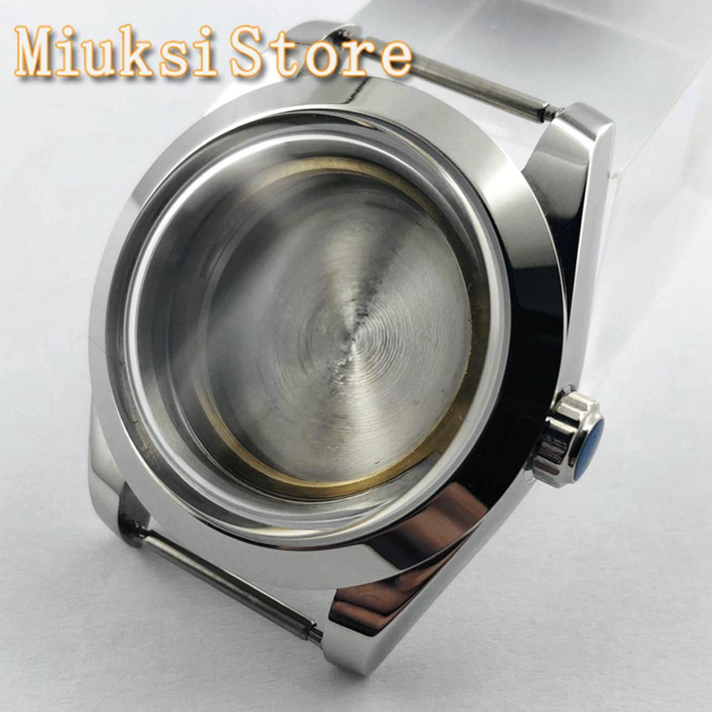 40mm Sterile Silver Watch Stainless Steel Case Fit ETA 2836, Miyota 821A 8215 82 Series, NH35 36, Mingzhu DG 2813 3804 Movement