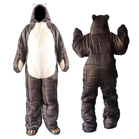 wearable de corpo inteiro saco de dormir urso marrom em forma de bolsa de dormir