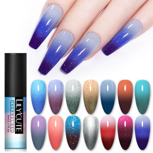 LILYCUTE Nail Varnish Polish Glitter Changing Holographics Temperature-Color Soak-Off