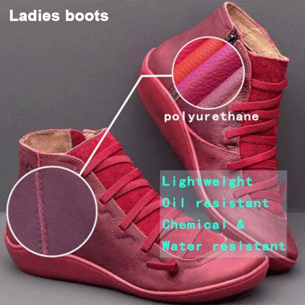 Nữ Ủng Da Cá Nữ Thu Đông Hỗ Trợ Vòm Giày Nữ Punk Giày Phẳng Nữ Giày Nữ Người Phụ Nữ Botas Mujer