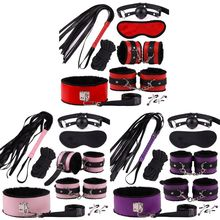 bondage sexy plush eight-piece handcuff sexy leather suit set alternative game sex products
