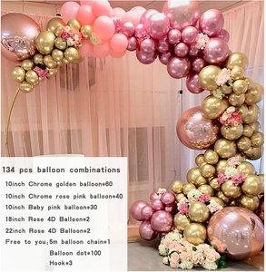 Image 2 - 134pcs Chrome Gold Rose Pastel Baby Pink Balloons Garland Arch Kit 4D Rose Balloon For Birthday Wedding Baby Shower Party Decor
