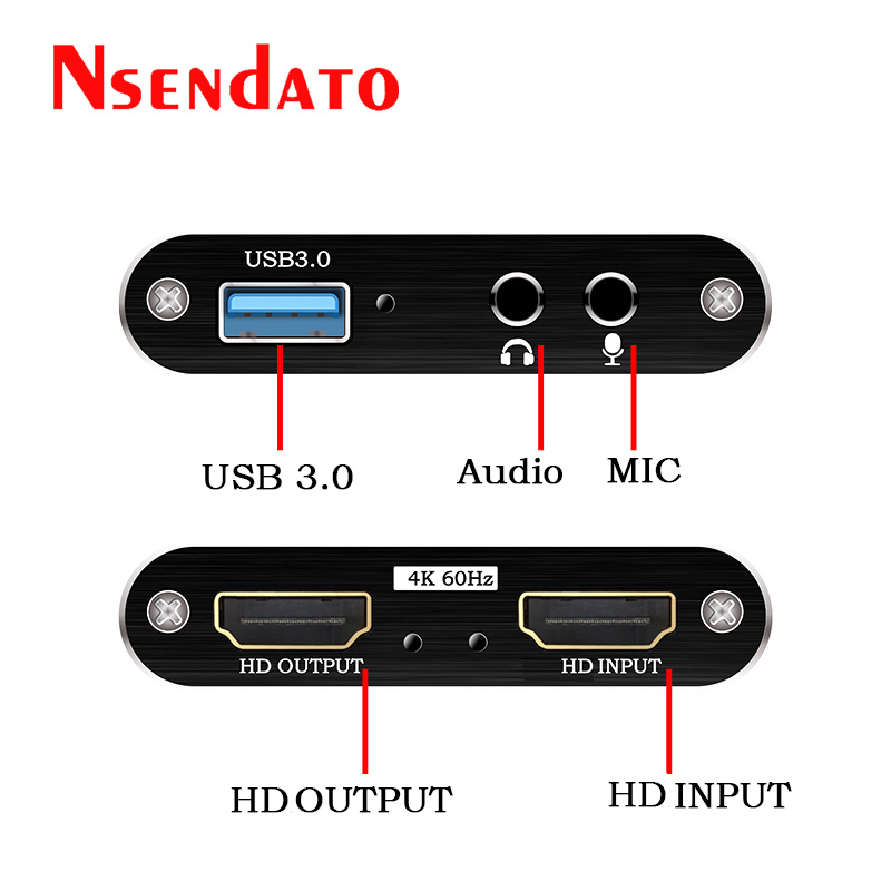 4K 1080P USB 3.0 HD Video Capture HD to USB3.0 Video capture Dongle Card Game Live streaming Recording with Audio Mic input 2